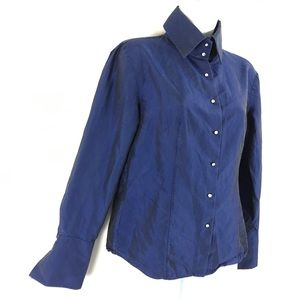 Express High Collar Jeweled Button Front Blouse